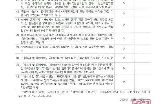 2019년 지정기부금단체등 의무이행 여부 보고서