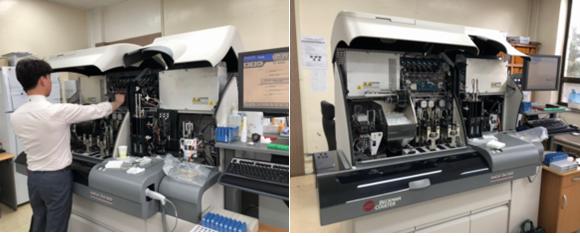 면역혈정검사 장비(Unicel Dxl 800) 장비공급자 점검 실시.